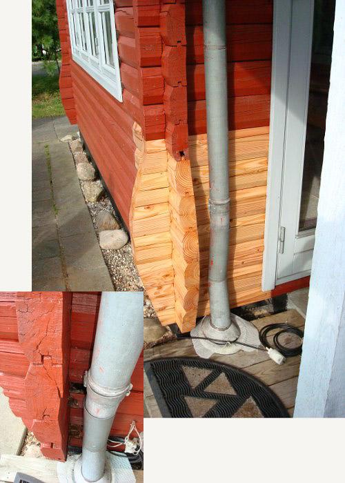 Reparation af råddent hushjørne med indsætning af nyt tømmer i sibirsk lærk.