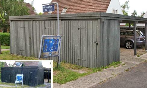 Opretning af udhuse og carporte samt udskiftning af beklædning og defekte tagpaneler.
