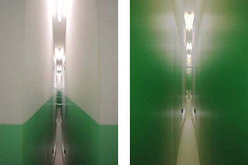 Installation på Charlottenborg af Monica Sosnowska´s værk The Corridor. Ca. 30 m gange med gulv, vægge, lofter og døre, malet og monteret med belysning mm.